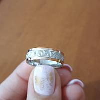Серебряное обручальное кольцо с золотом