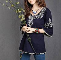 Вышитая летняя блузка синяя винтаж