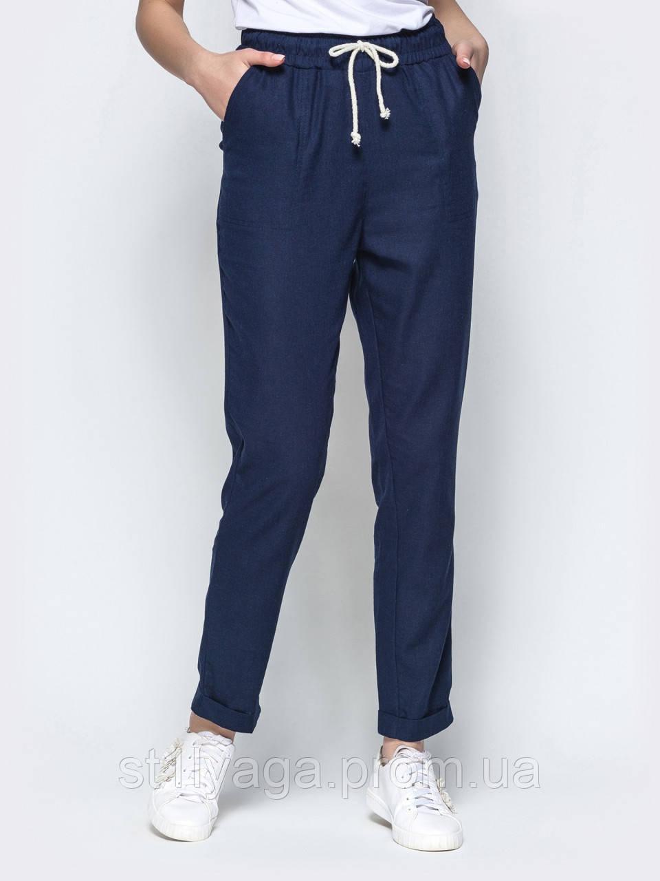 Льняные брюки с высокой посадкой и подворотами внизу ЛЕТО