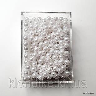 Бусины Акрил, Жемчужные, 8 мм, Цвет: Белый (100 шт.)