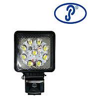 Фара рабочая ФР-230 LED 27W/30⁰ (9x3W) 3100 lm (spotlight - узкий луч) квадратный корпус, фото 1