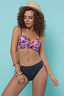 Женский купальник розовый с черным