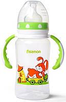 """Бутылочка детская для кормления Fissman Babies """"Зайчик на колесах"""" 300мл с ручками"""