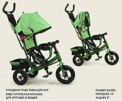 Детский трехколесный велосипед зеленый 1407, фото 2
