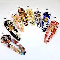 Украшение-заколка для волос Fashion Jewelry Труегольник (крокодил La-Or-triangle) 7см Камень фиолетовый 01