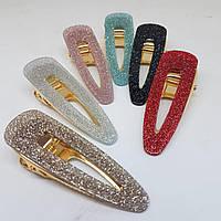 Прикраса-шпилька для волосся Fashion Jewelry Труегольник (крокодил La-Or-triangle) 7см Гліттер рожевий