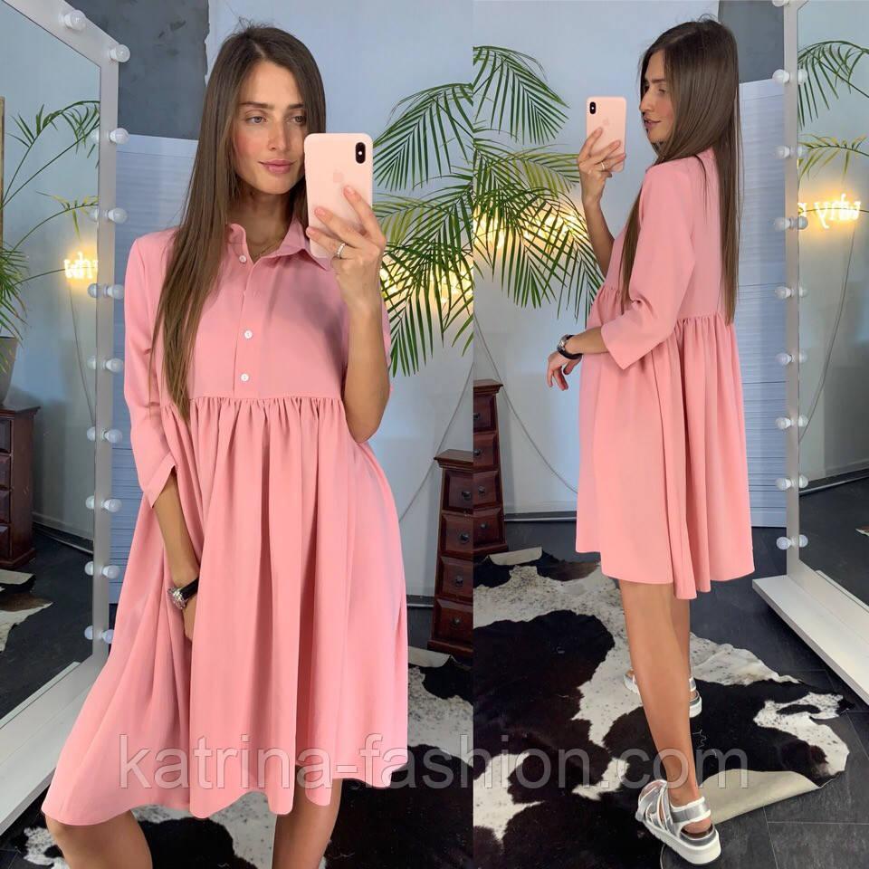 Женское летнее платье-рубашка свободного кроя (в расцветках)