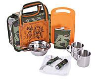 Походный набор с туристической посудой и аксессуарами в камуфляжной сумке