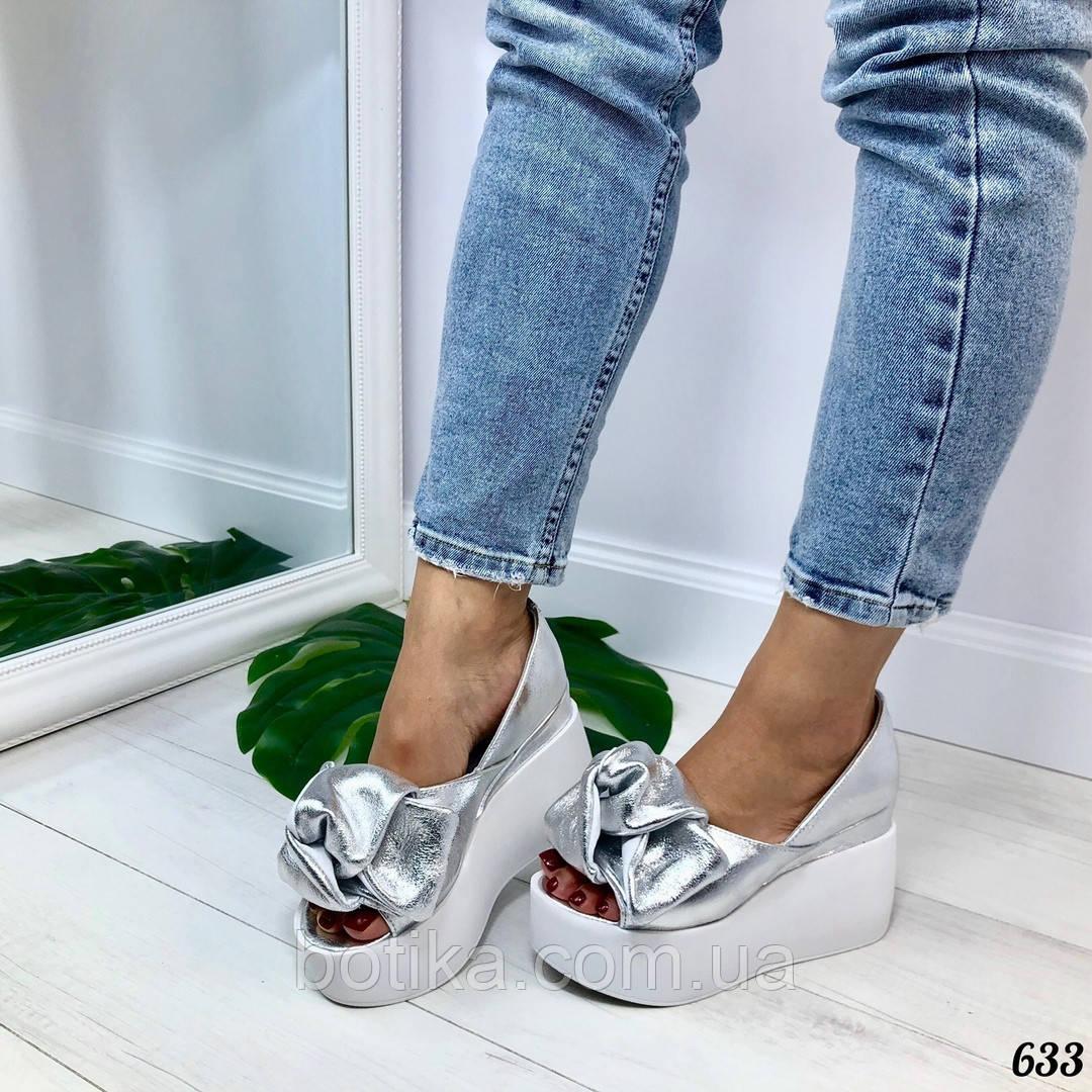 532b0f93cf50 Белая и черная подошва! Стильные серебристые женские туфли на платформе с  бантом: ...