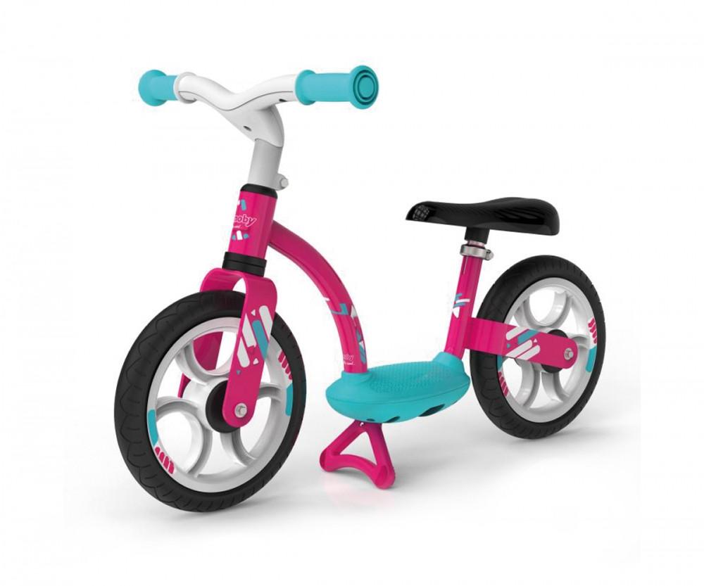 Детский металлический беговел с подножкой Smoby Розовый 770123