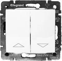 Механизм кнопки управления жалюзи 2-клавишной с эл.блок. белый Legrand Valena