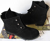 Замша болты! женские зимние ботинки в стиле Hermes черного цвета Гермес обувь кэжл