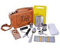 Мужской подарочный набор с предметами для туризма и отдыха в кожаной борсетке