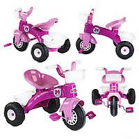Трехколесный велосипед розовый для девочки с педалями на переднем колесе с корзиной и багажником от 2 лет