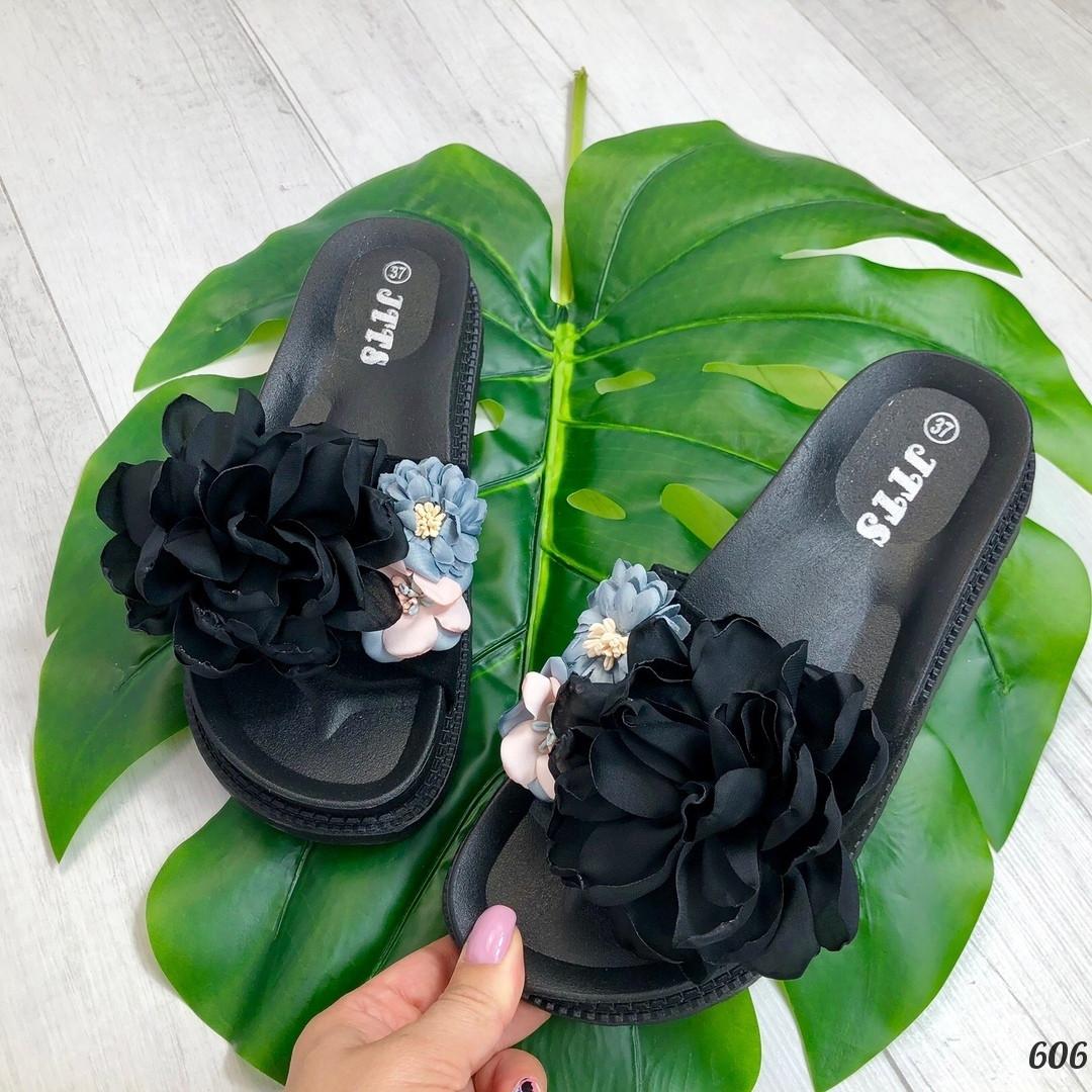 Шлепанцы Florry цветок черные