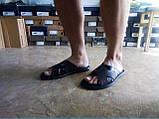 Стильные кожаные тёмно-коричневые шлёпанцы Rondo, фото 6