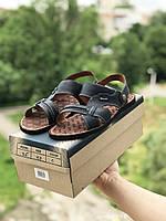 Мужские сандали в стиле Bonis, кожа, синие *** 40 (26,3 см)
