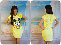 Короткое облегающее платье в полоску с Микки Маусом впереди ( 5 цветов)557
