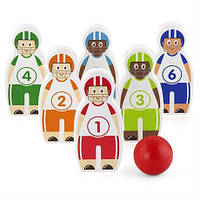 Боулинг  для детей от 2 лет - игровой набор содержит 6 кегль из высококачественной древесины и шар