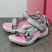 Босоножки на девочку спорт серые с розовым 01-29-16088 (29р - 18,3см), фото 1