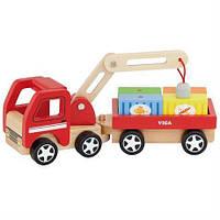 """Замечательный деревянный автокран со складной стрелой и контейнерами - игрушка для мальчика """"Автокран"""""""