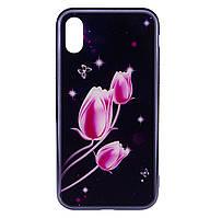 Чехол-накладка TPU+Glass Fantasy с глянцевыми торцами для IPhone X / Xs (Тюльпаны)