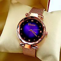 Ультрамодные женские кварцевые наручные часы Geneva Diamond на силиконовом ремешке,фиолетовый циферблат,золото