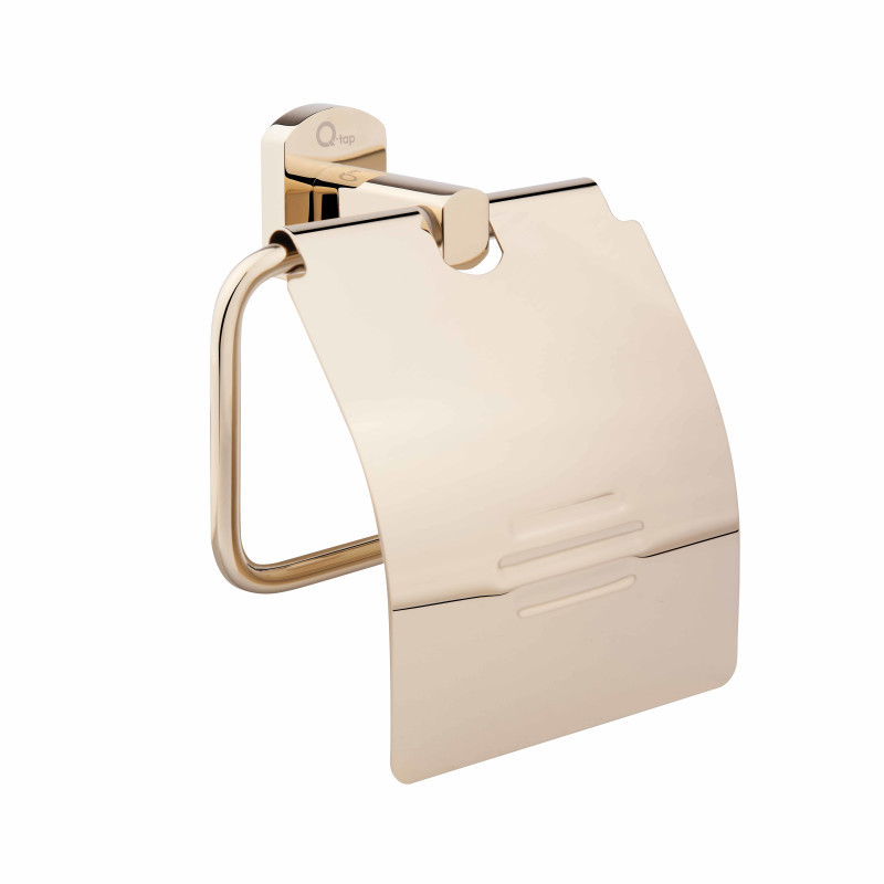 Держатель туалетной бумаги с крышкой латунь в золоте 1151