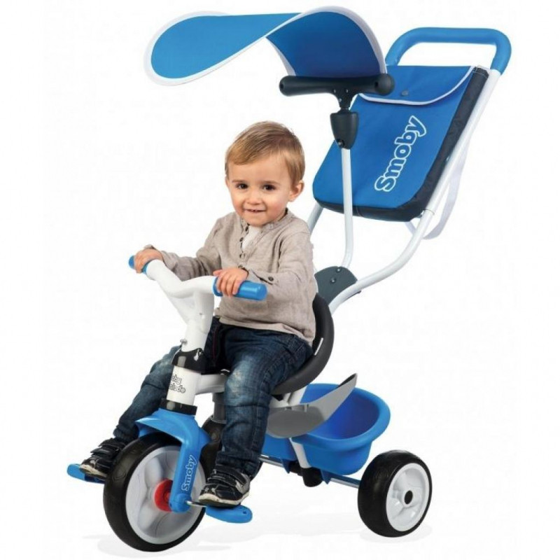 Детский трехколесный велосипед с багажником и козырьком синий Smoby 741102