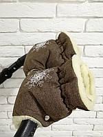 Рукавички-Муфта на коляску Ok Style Снежинка Лен Коричневый, фото 1