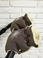 Рукавички-Муфта на коляску Ok Style Снежинка Лен Серо-коричневый, фото 1