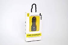 Автомобильное зарядное устройство 4you B1 (2100mAh - 100%, Long, 2 USB, Exclusive design) black, фото 2