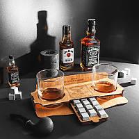 Подарочный набор: 12 камней для виски, 2 стакана Bohemia и подставка