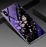 Чехол-накладка TPU+Glass Fantasy с глянцевыми торцами для IPhone Xs Max (Цветение)