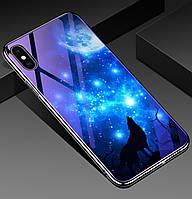 Чехол-накладка TPU+Glass Fantasy с глянцевыми торцами для IPhone Xs Max (Лунная ночь)