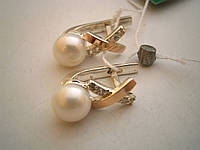 Серьги серебро с золотом со вставкой жемчуга