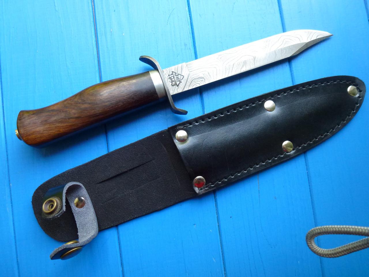 Нож Дамаск финка легендарная  эксклюзив,ручная работа(красное дерево))