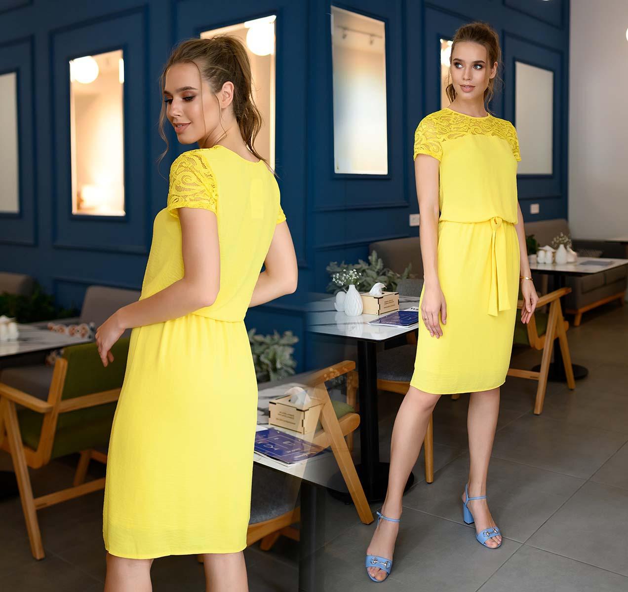 """Женское нарядное платье средней длины 4179 """"Софт Кокетка Гипюр"""" в расцветках"""