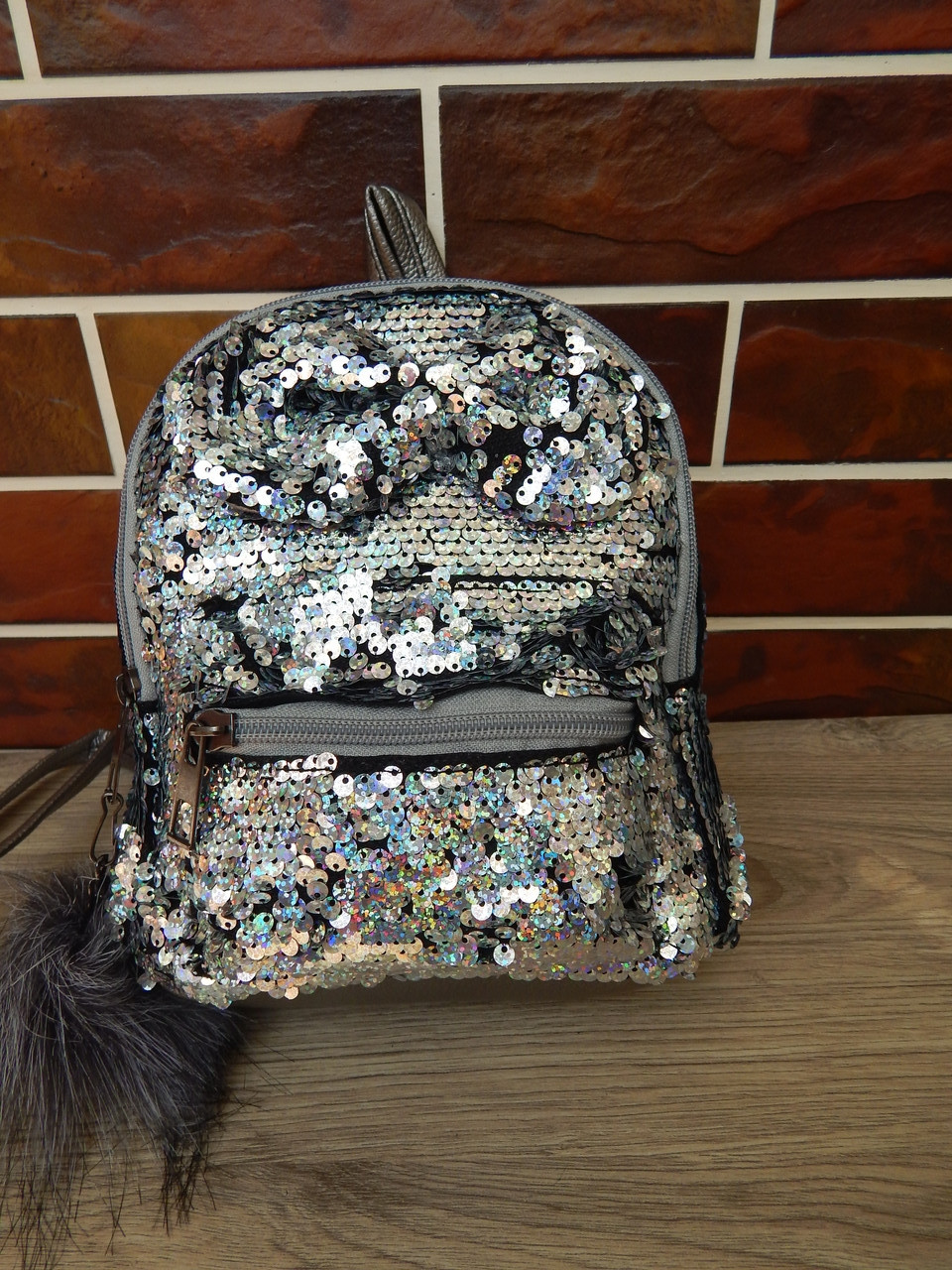 Детские рюкзаки с двухсторонними пайетками перевертышами бантиком и брелком, фото 1