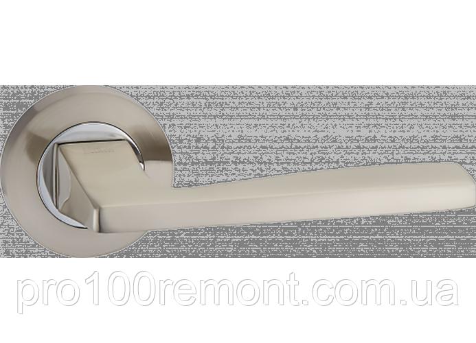 Ручка дверная на розетке МВМ SIERA NUOVO A-1220 SN/CP матовый никель/полированный хром