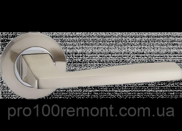 Ручка дверная на розетке МВМ SIERA NUOVO A-1220 SN/CP матовый никель/полированный хром, фото 2