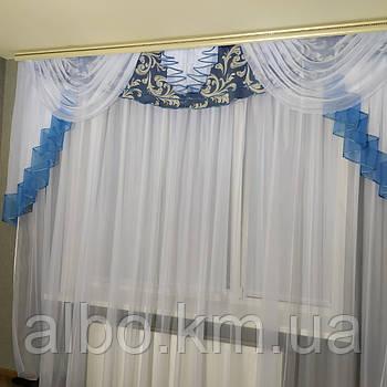 Ламбрекен в зал блекаут ALBO 300x100 cm Блакитний (L308-06)