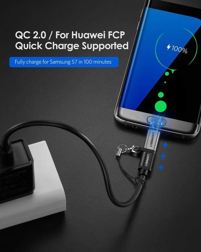 Переходник-адаптер USB Type-C к microUSB Ugreen US282 Серый