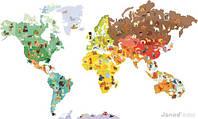 """Janod - cтикер на стену """"Карта мира"""" + 101 магнит"""