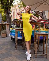 Платье (48-52) футляр Midi желтый, фото 1
