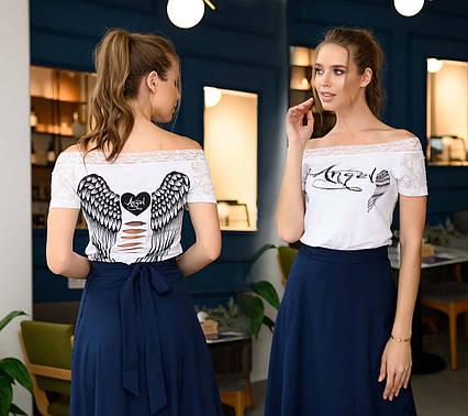 """Женская стильная футболка 881 """"Angel"""" в расцветках"""
