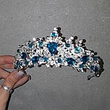 Обруч-діадема з блакитними кристалами, честкими намистинами та основою кольору срібло, фото 4