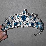 Обруч-діадема з блакитними кристалами, честкими намистинами та основою кольору срібло, фото 3