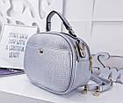 Женская сумка-клатч цвета серебро, из искусственной кожи (под бренд), фото 3