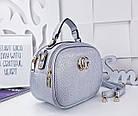 Женская сумка-клатч цвета серебро, из искусственной кожи (под бренд), фото 4